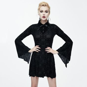 Gothic Ribbon Bow Tie Flared Sleeve Witch Mini Dress