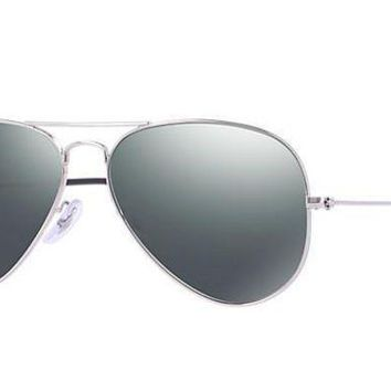 UCANUJ3V Ray Ban Aviator Sunglass Silver Grey Mirrored RB 3025 W3277