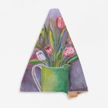 Green Pitcher with Tulips
