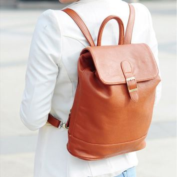Korean Travel PU Leather Backpack Casual Shoulder Bag [8403309191]