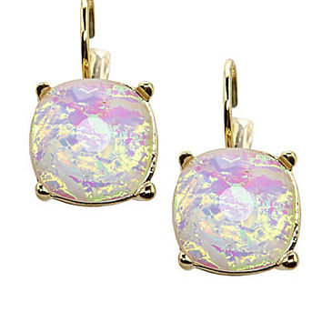 Anna & Ava Iridescent Kendra Lever Back Earrings - Gold/White Opal