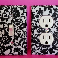Black Damask Light Switch Plate Outlet Cover Set of 2- Black White