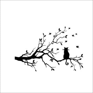 Happy Fashion Beauty New Design DIY Home Room Decor Cat On Long Tree Branch Wall Sticker Animals Cats Art Decal Kids Room Decor