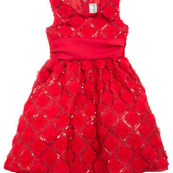 Rare Editions Girls 2-6x Red Soutache Sequin Dress