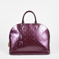 "Louis Vuitton Purple Monogram Vernis Top Handle ""Alma"" GM Bag"