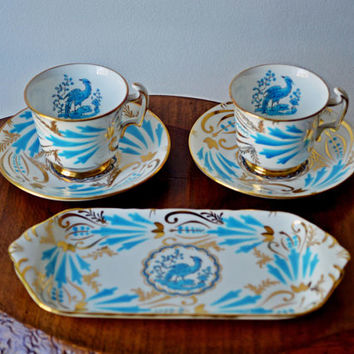 Royal Chelsea, New Chelsea Demitasse Cups And Saucers, Pastry Tray, Blue Bird