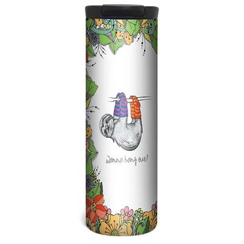 Hang in Sloth Flowers Barista Tumbler Travel Mug - 17 Ounce, Spill Resistant, Stainless Steel & Vacuum Insulated