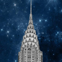 Chrysler Building, New York Photography, NYC Art, Navy Blue, Silver, New York City Art, Wall Decor, stars