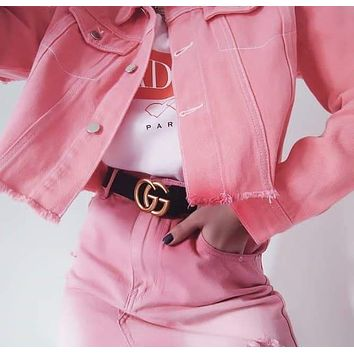GUCCI casual wild retro classic double G buckle simple smooth buckle belt