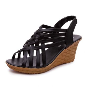 Women Sandals Wedge Shoes Women Summer Sandals Platform Fashion Ladies Shoes Black Cro