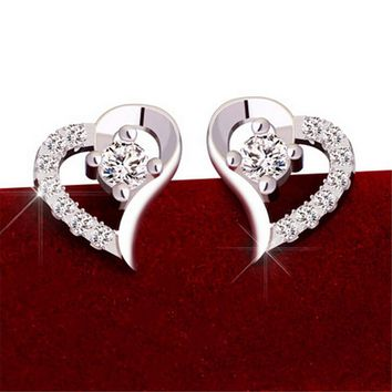 Womens 925 Silver Heart-shapedStud Earrings With Cut Crystal +Gift Box