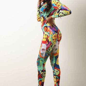 Iconic Pop Art Zip Up Catsuit Jumpsuit