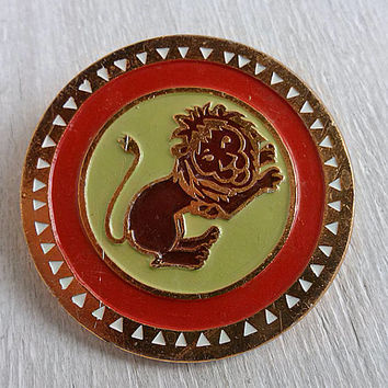 Vintage badge Lion Retro brooch king of beasts Big mane Desert Africa Animals zoology Wild nature Animal Art Gift idea Soviet zoo souvenir