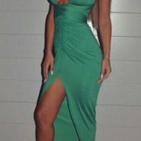 Green Backless Sleeveless Maxi Dress