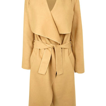 Marianna Faux Wool Long Sleeve Waterfall Belted Coat in Camel Brown