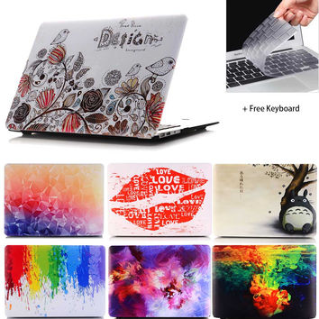 2016 NEW Beautiful Case Print Picture  Hard  Case For Macbook Air  Pro Retina 11 12 13.3  15.4 inch laptop case + keyboard cover