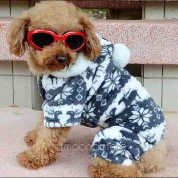 Pet Dogs Puppy Winter Soft Fleece Fashional Warm Four Feets Hoodie Clothes Coats Gray = 1932265924