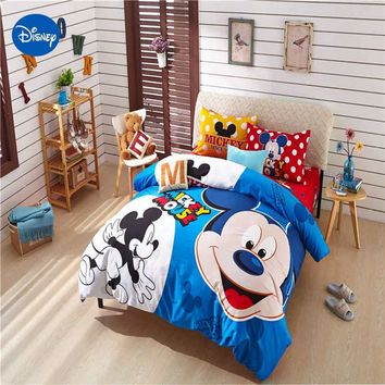 blue Mickey mouse comforter cover set queen twin king size disney minnie beddings single bed clothes pillow cover sweet gift boy