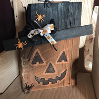 Jack O Lantern Wood Sign Stand Up Pumpkin Wall Window Dressing Housewarming Gift Halloween Decoration Holiday Black Sequence Ribbon lcww