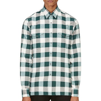 Lanvin White And Green Plaid Flannel Shirt