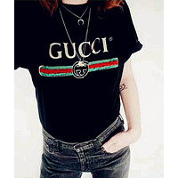 GUCCI female tide brand letter T-shirt shirt printing F