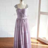 Purple Long Chiffon Bridesmaid Dress/Prom Dress/Wedding Dress with Beaded Cap Sleeves