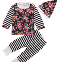 Autumn 2016 Newborn Infant Baby Girl Striped Floral Clothes Shirt Tops+Pants Hat 3Pcs Outfits Set