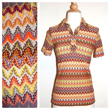 1970's Knit Top . 70's Patterned Blouse . Psychedelic Hippie Print . size M