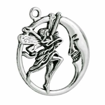 20 Pieces Guardian Fairy Angel Moon Charm Findings Jewelry Pendants Necklace Making 30 X 27mm