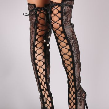 Liliana Floral Mesh Peep Toe Lace Up Stiletto OTK Boots