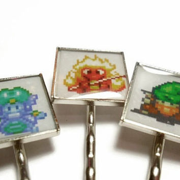 Secret of Mana video game hair clips set of 3  - Elementals Undine, Gnome and Salamando - video game jewelry - geekery - SNES video game