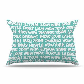 "Just L ""Lux Writing Wht Teal"" White Typography Pillow Sham"