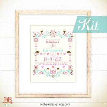 Wedding cross stitch KIT - Happy Floral Wedding Keepsake - Modern xstitch pattern Personalized Wedding Announcement Wedding Gift Marriage