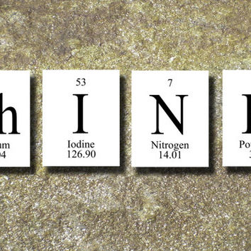 THINK Periodic Table Elements Print Art Illustration Printable Instant Download Poster UPT004w