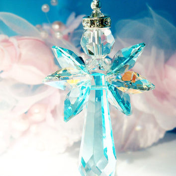 Crystal Angel Suncatcher for Car Rear View Mirror Swarovski Turquoise Blue Crystal Car Accessories