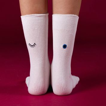 Wink Embroidered Sock