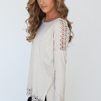 Long Sleeve Crochet Inset Top - Oatmeal