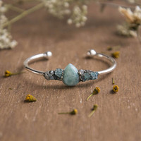 LARIMAR & APATITE BANGLE - Raw Crushed Gemstone, Silver Bracelet, Crushed Pyrite, Boho Chic, Gifts for her, Mother's Day Gift,Bridal Jewelry