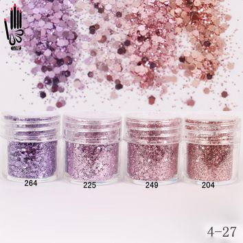 1 Jar/Box 10ml 3D Nail Light Purple Pink Mix Nail Glitter Powder Sequins Powder For Nail Art 300 Colors for Gel Polish 4-27