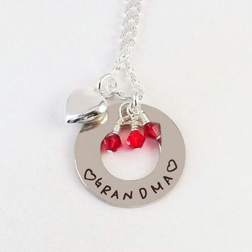 Personalized Grandma Birthstone Charm Necklace with Sterling Silver Heart Charm and Silver Plated Crystal Birthstone Dangles