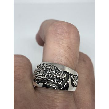 Vintage Gothic Dragon Sterling Silver Mens Ring