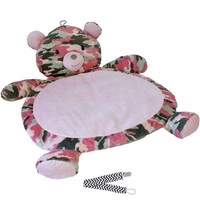 Mary Meyer Pink Camo Bear Best Ever Baby Mat with Pacifier Clip