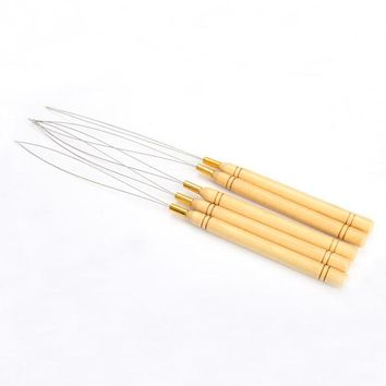 Fashion 5 Pcs Hair Extension Hook Pulling Tool Needle Threader Micro Rings Beads Loop Wooden Handle With Iron Wire Hotting