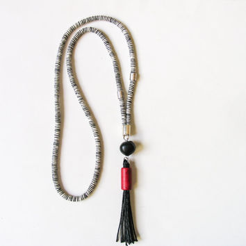 Long Tassel Necklace, Boho Pendant Necklace, Tassel Rope Necklace, Handmade Clay Beads Necklace, Unique Boho Trend in Black White Red