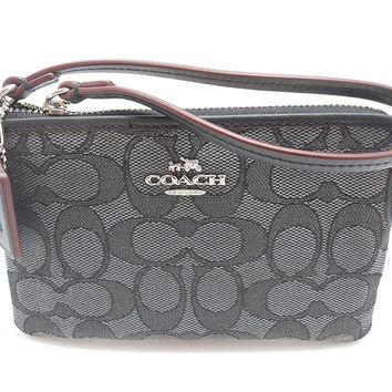 Coach C Signature Logo Wristlet Hand Bag Purse Outline Smoke Gray Black