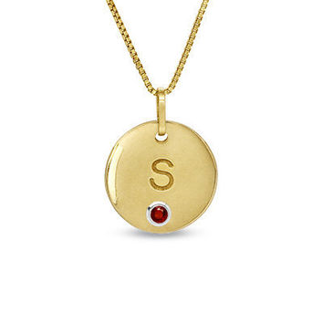 Simulated Birthstone Initial Disc Pendant in Sterling by NaomisCo2