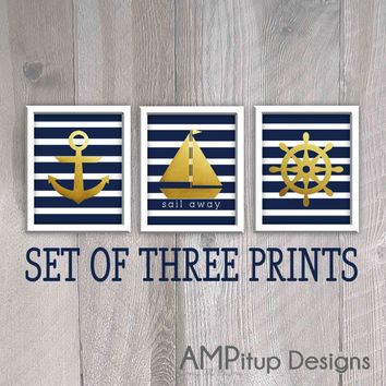 Nautical Gold Foil Wall Decor Set - Printable Nautical Decor - Nautical Gold Nursery Printable Decor - Navy Blue and Gold Decor - Boat Decor