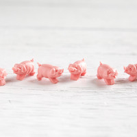 Miniature Pigs - 6 Tiny Vintage Pink Plastic Piggies, Craft Figurines