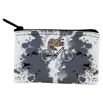 IKCKJY1 Bicycle Sloth Funny Grunge Splatter Coin Purse