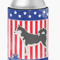 USA Patriotic Siberian Husky Can or Bottle Hugger BB3380CC